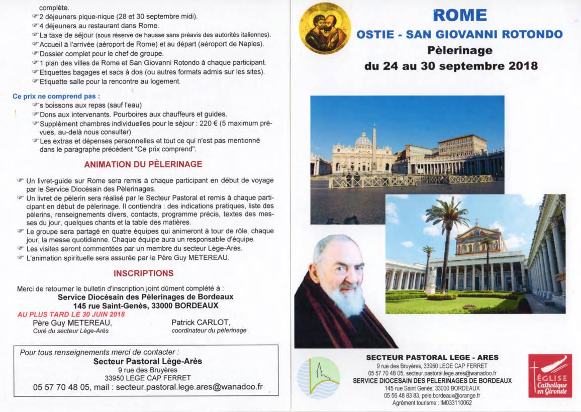 Pèlerinage Rome Ostie San Giovanni Rotondo